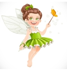 Cute little summer fairy girl with a Magic wand vector image vector image