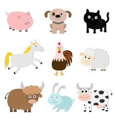 Farm animal set Pig cat cow dog rabbit ship horse vector image