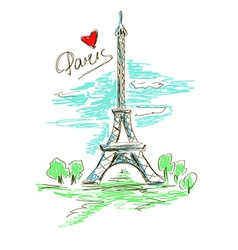 Sketch of Eiffel Tower vector image