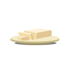 Butter margarine on a plate baking ingredient vector