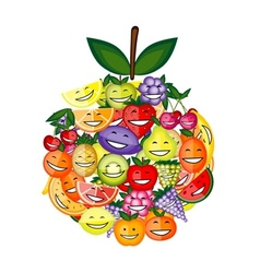 Funny fruit characters smiling together apple vector image vector image