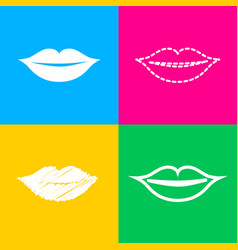 lips sign four styles of icon on vector image