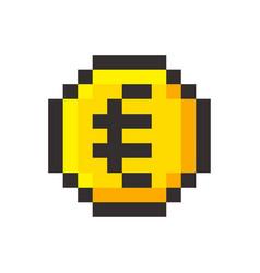 pixel art euro golden coin retro video game vector image vector image