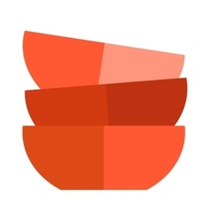 Red soup cup plate vector image