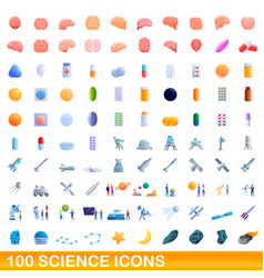100 science icons set cartoon style vector