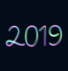 2019 text from neon tubes with fluorescent light vector image