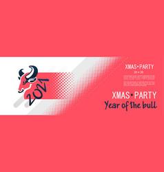 2021 year bull banner vector image