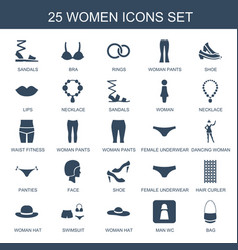 25 women icons vector