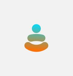 Abstract gradient yoga man logo template person vector