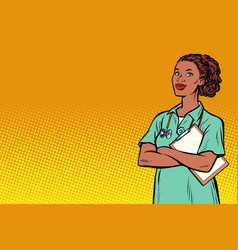 african nurse medicine and health vector image