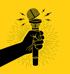 Arm black silhouette holding microphone with vector