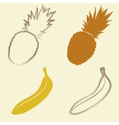 Banana and pineapple icons - vector