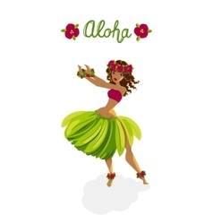 Beautiful girl - hula dancer vector
