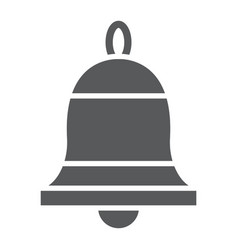 Bell glyph icon ring and alert alarm sign vector