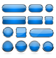 blue glass buttons with metal frame collection of vector image