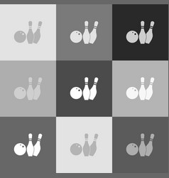 Bowling sign grayscale vector