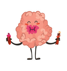 brain character emotion brain character eating vector image