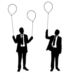 Businessmen holding balloons vector