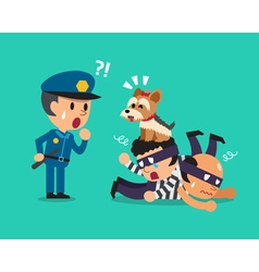 Cartoon cute dog helping policeman to catch vector image