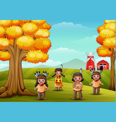 Cartoon kids native indian american in farm backgr vector