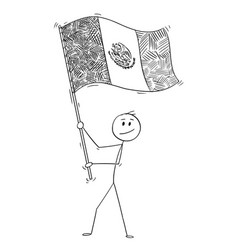 cartoon of man waving the flag of united mexican vector image