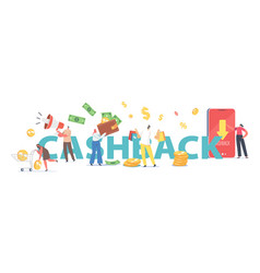 Cash back concept happy people getting money vector
