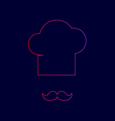 chef hat and moustache sign line icon vector image