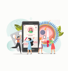Childbearing woman using mobile app for pregnancy vector
