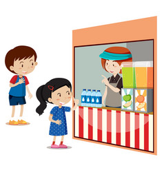 children buying drinks at the store vector image
