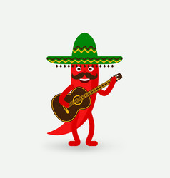 chili pepper with guitar in sombrero vector image vector image