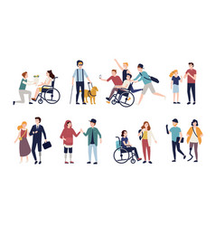 Collection of disabled people with their romantic vector
