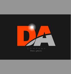 Combination letter da d a in grey orange color vector