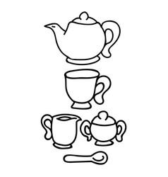 Cute afternoon tea set teacup teapot clipart vector