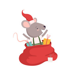 Cute mouse in red santa hat with big sack of vector
