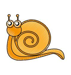 cute snail comic character vector image