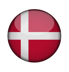 Denmark flag in glossy round button of icon vector