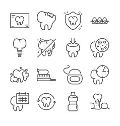 dental line icon set vector image