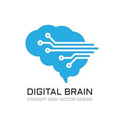 Digital brain logo design future data technology vector