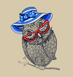 doodle style owl in summer blue stripped hat vector image