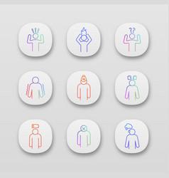 Emotional stress app icons set vector