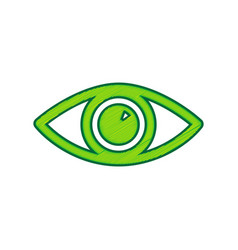 Eye sign lemon scribble icon vector