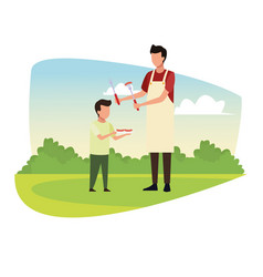 family barbecue picnic vector image