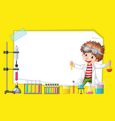 Frame template design with kid in science lab vector