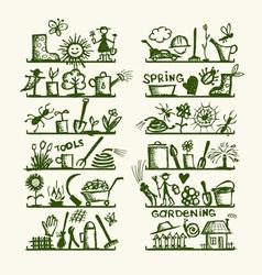 Garden tools on shelves sketch for your design vector