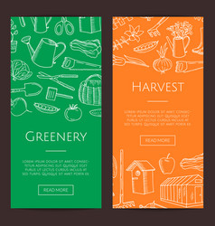 gardening doodle icons vertical banners vector image