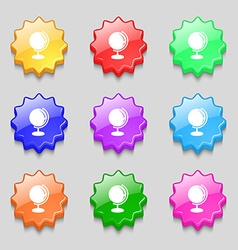 Globe icon sign symbol on nine wavy colourful vector