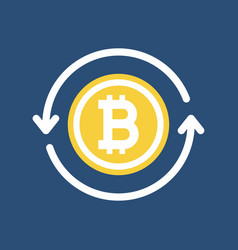 golden bitcoin with circle arrows vector image