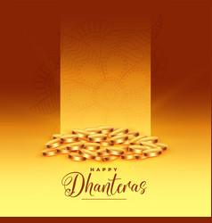 Golden coins happy dhanteras festival greeting vector