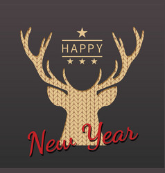 Greeting card with silhouette of deer for vector