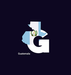 guatemala initial letter country with map and vector image